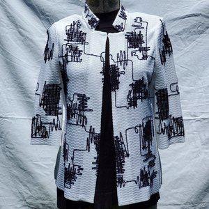 Ming Wang White Knit Jacket Black Embroidery